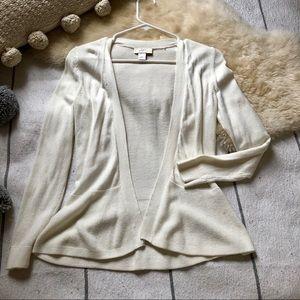 Open Peplum Cardigan Fitted Ivory Knit Sweater